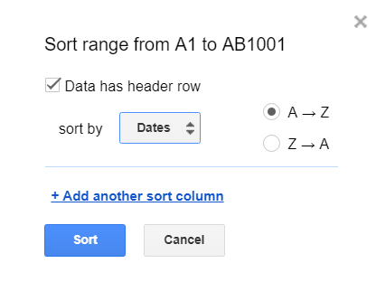 sort data by date
