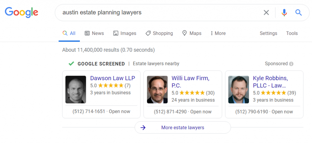 Google Guaranteed for lawyers