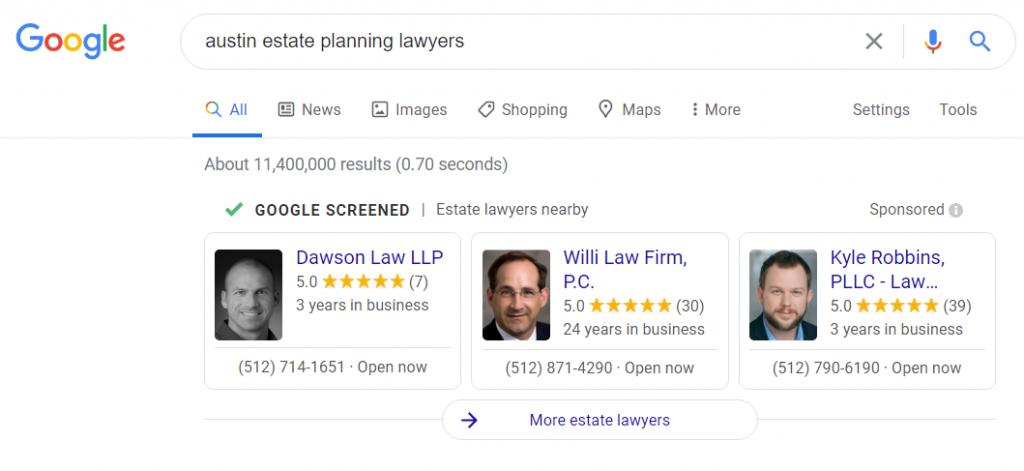 Google Guaranteed for lawyers